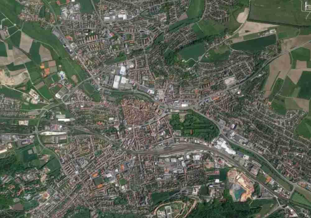 Stadtgebiet Ansbach aus der Satelliten-Ansicht