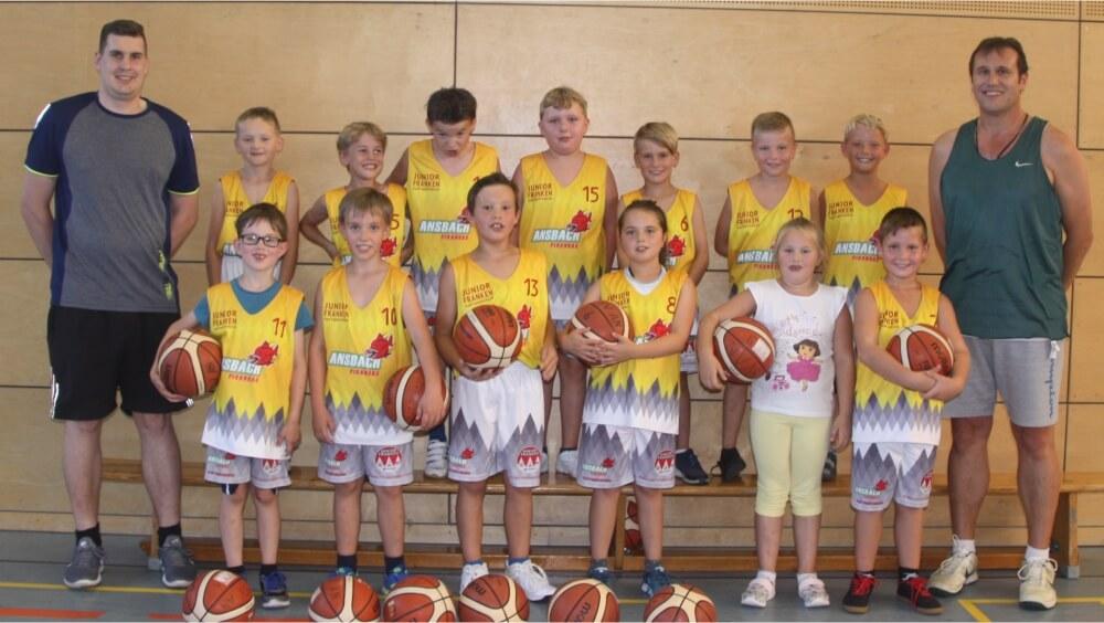 Mannschaftsfoto U10-Mannschaft Ansbach Piranhas 2019-20