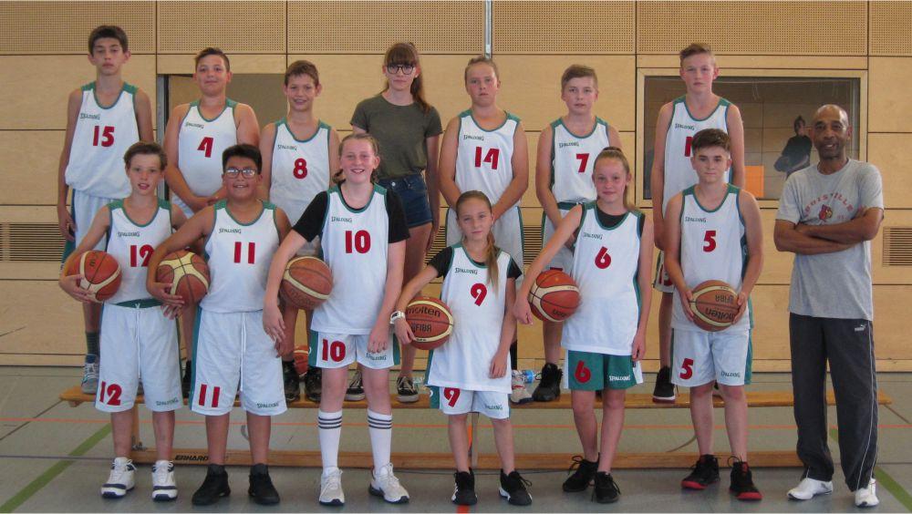 Mannschaftsfoto U14-Mannschaft Ansbach Piranhas 2019-20